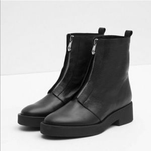 Zara zipper front heavy leather ankle boots